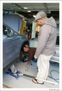 Paul changes our brake pads w/ help from our buddy Tom