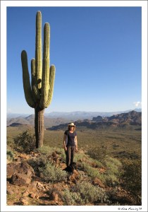Yours truly poses by a massive Saguaro on the Pass Mountain trail