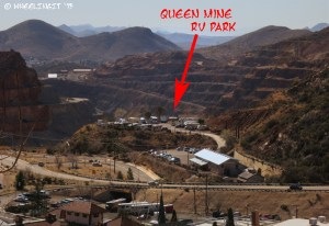 """Aerial"" view of the park from a hill in Bisbee. See the circle with the sites? Queen mine is in the back."