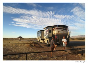"""Paul and Dave hang by """"the beast"""" at our boondocking spot"""