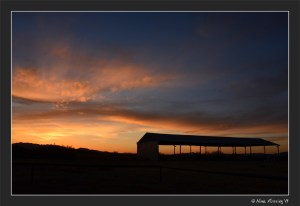 A simply stunning sunset over the barn by our boondocking spot.