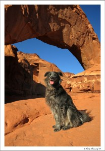 Polly poses by an arch outside our RV park