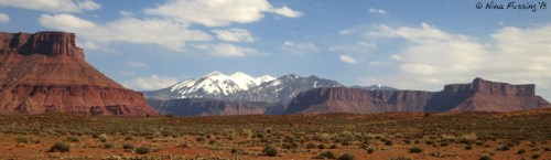 View of Manti La Sal Mountains from U-128
