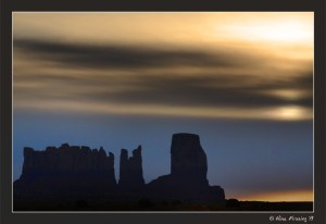 Sunrise in heavy cloud over the Monument Valley Buttes