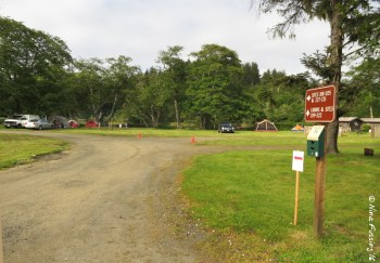 Lakeside Campground -> View of main entrance. Site in right back is #205. Car on left in site #203
