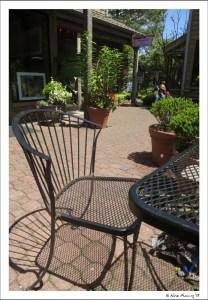 One of the many, cute patios where you can hang, eat & sip w/ doggie