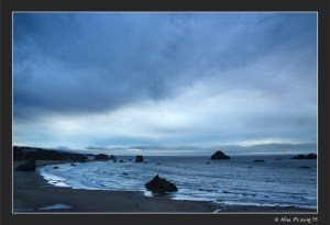 A muted, but lovely sunset at Bandon beach