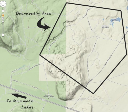 General map of BLM area behind the airport. Boundaries are very general here since the BLM extends many miles back.