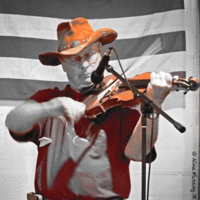 Fiddling away. This guy was good!