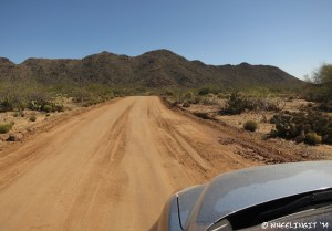 View down main road to boondocking area. This is hard-packed when dry, but gets very sticky when wet.