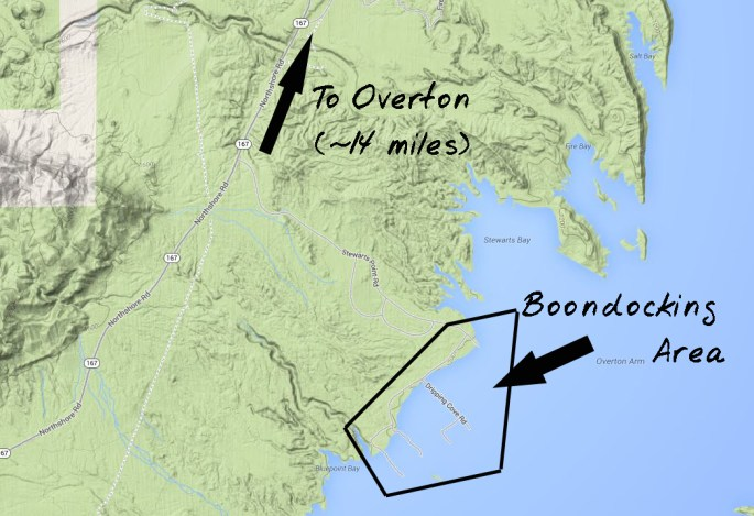 General map of boondocking area (Note/ the roads shown below the water area actually above water)