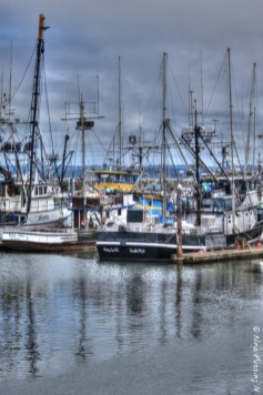 Grey reflections of fishing boats