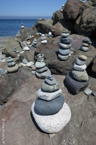 Cairn sculptures at Fort Worden beach