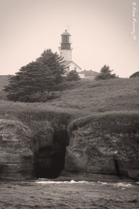 A peek at the lighthouse through the fog