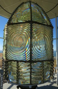 "Our amazing Frenel Lens. She's 6'8"" tall and 4'8"" wide. See the little stool on the right?"