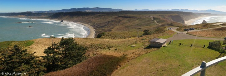 MINE...all mine!!! View from the lighthouse tower of Cape Blanco. See the cars?