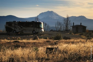 """The Beast"" with Mt. Lassen in the background"