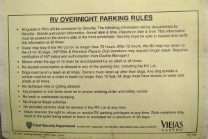Picture of parking rules. This is taken from the yellow registration form that we got from Casino security.