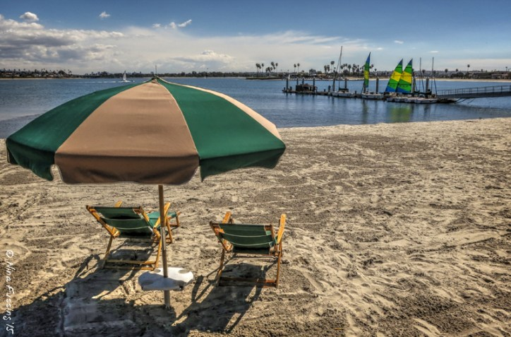Free to use lawn chairs at  Catamaran Resort Hotel on the trail. Take a load off...