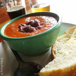 Chilled red pepper soup and brews at Mountain Rambler