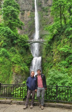 Todd & Russ pose by Multnomah Falls