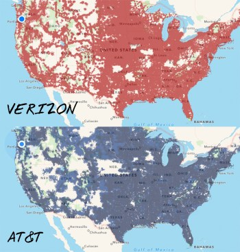 Verizon versus AT&T coverage across the US (from Coverage? App). The maps are getting mighty close!