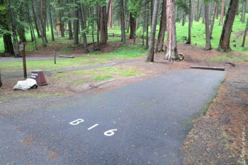 View of non-hookup back-in in B Loop. This is B16. The nature trail starts right next to it.