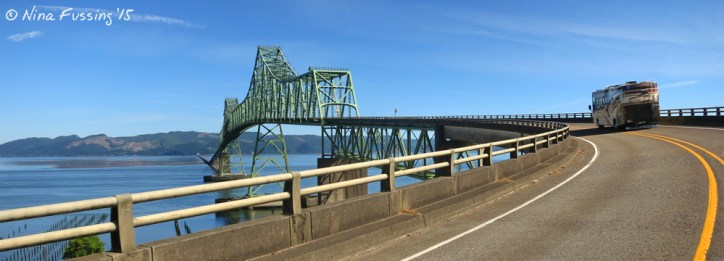 """""""The Beast"""" crosses the Astoria Bridge, a steel cantilever through truss bridge that spans the Columbia River between OR & WA"""