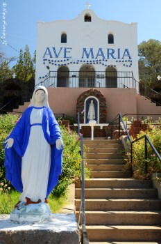 The Ave Maria Shrine sits on the hill above town and dates to 1934.