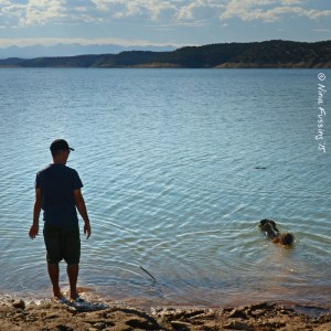 Afternoon swim with Polly by South Shore side of the lake
