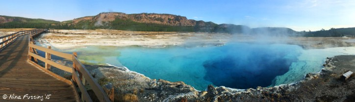 A steamy early morning at Sapphire Pool in Yellowstone