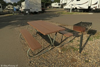 "Typical gravel ""sitting area"" with picnic table and grill. This is one of the smaller site separations F30."