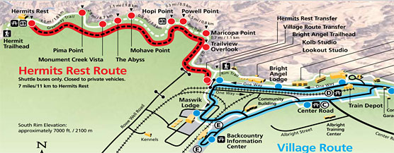 East Rim Bus Map. We bus'd it to