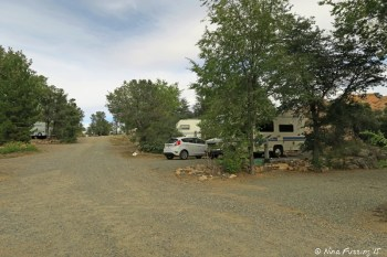 """Entrance into """"Lower park"""" loop. RV in site #2 on right."""