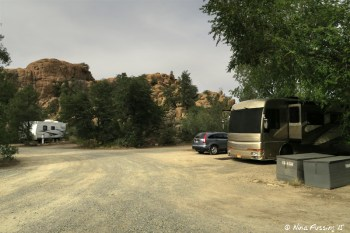 """Further down """"upper park"""" loop. RV in site #56 on right with #55, #54, #53 to left of it."""