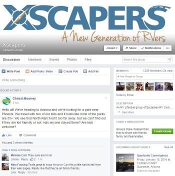 Xscapers is just one of the many great interactive Facebook RV groups out there.