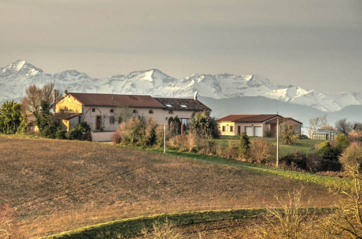 My fathers house backed by the gorgeous Pyrenees