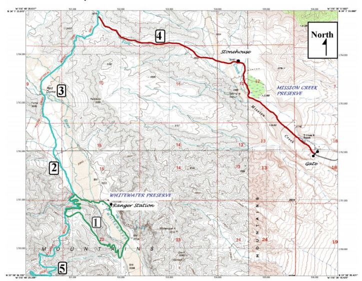 Mission Creek & Whitewater Preserve Hiking Map. Hike #1 is the Loop Trail at Whitewater Preserve. Hike #4 is the out-and-back at Mission Creek Preserve.