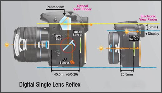 Mirrorless cameras are much thinner/lighter than regular SLR's credit: pentaxdslrs.blogspot.com