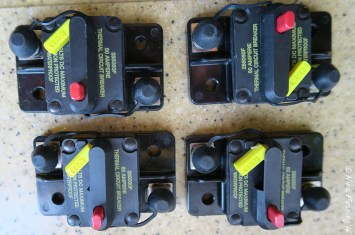 The 50 Amp Breakers for our solar chargers