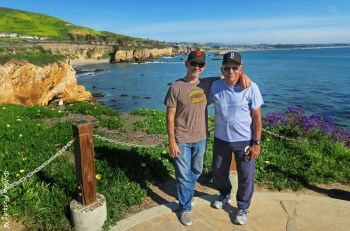 Paul and his dad at Dinosaur Cave