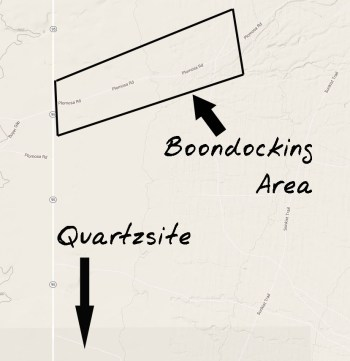 Map showing general Plomosa boondocking area