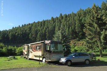 Our very green site at Hilgard Junction State Park