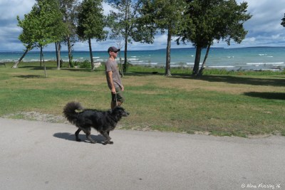 Walking Polly on the campground road by the water.