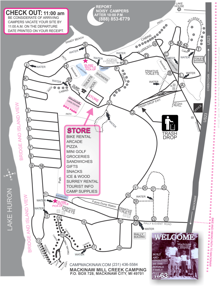General Campground Map showing individual sections. Click for larger size.
