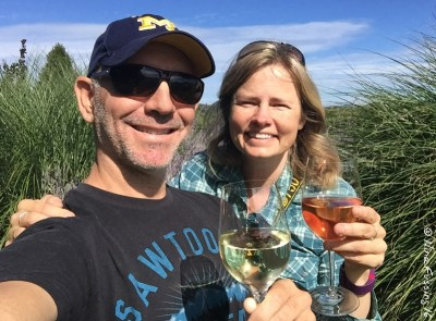 Enjoying a glass at Brys Estate