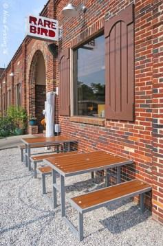 The dog-friendly patio at Rare Bird Brewpub