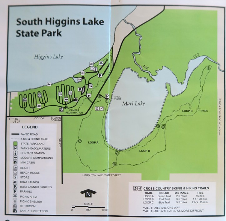 General map of South Higgins Lake State Park