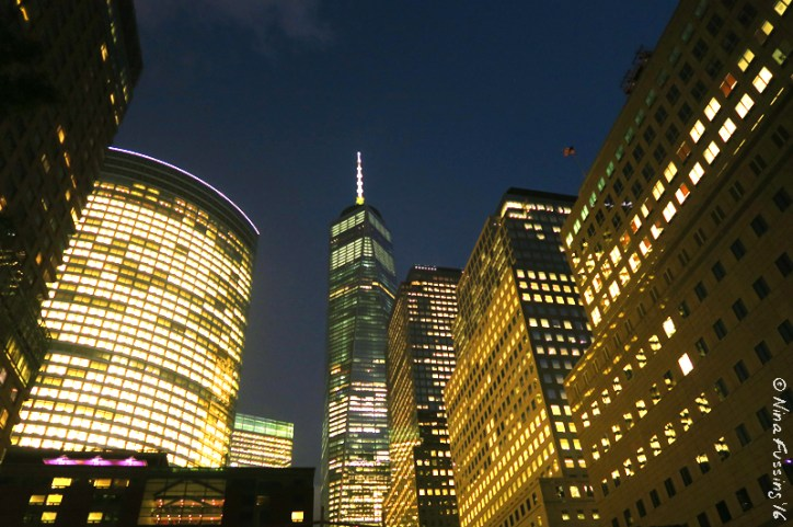 Right in the mix of it -> downtown Manhattan at night