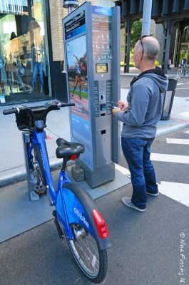 Paul renting a bike at a Citibike station